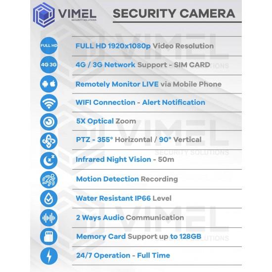 4G Wireless Security PTZ Camera 5X
