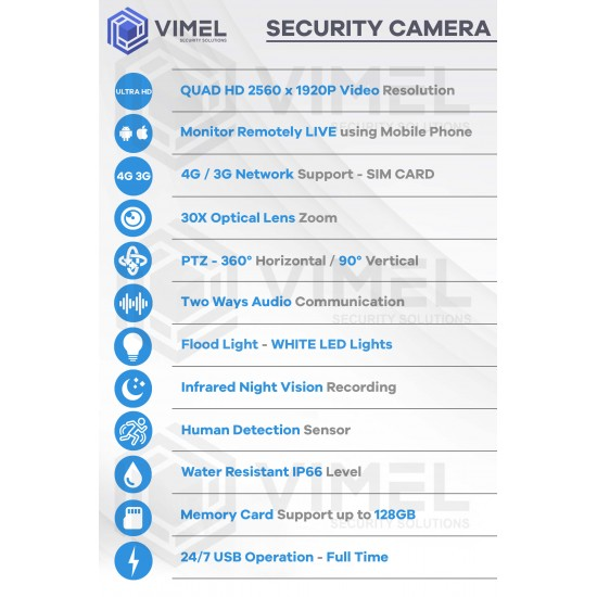 Construction 4G Security Camera 30X Zoom SIM Card