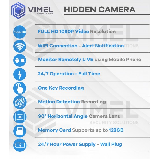 24/7 Spy Power Adapter Camera Wall Plug