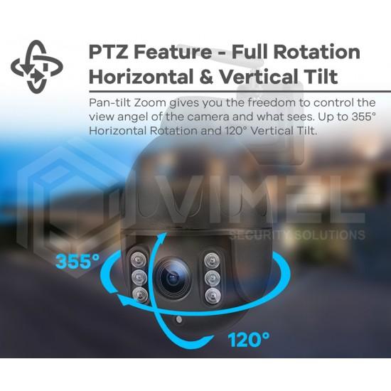 VIMEL 4G Outdoor PTZ 5Mpx WIFI Surveillance Camera 2K Ultra HD